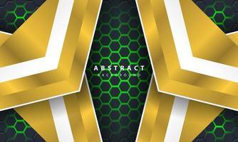 Abstrakt grönt ljus sexkantig bakgrund 3d med guld- och vitramformer. vektor