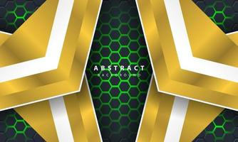 Sechseckiger Hintergrund des abstrakten grünen Lichts 3d mit Gold- und Weißrahmenformen.