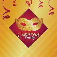 Karnevalspartyfeierhintergrund mit goldener Maske vektor
