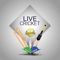 Live-Cricket-Meisterschaft mit Wicket mit goldener Trophäe und Helm vektor