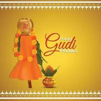 glücklicher gudi padwa traditioneller kalash und hintergrund