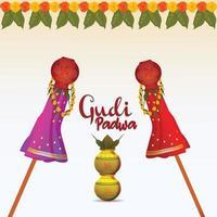 kreative Vektorillustration des glücklichen indischen hinduistischen Festivals und des Hintergrunds der Gudipadwa