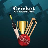 Live-Cricket mit Stadionhintergrund mit Cricket-Ausrüstung
