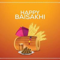 Sikh Festival glücklich Vaisakhi mit Vektor-Illustration und Hintergrund vektor