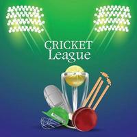 Cricket-Meisterschaftsturnier mit Stadionhintergrund vektor