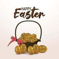 glad påsk bakgrund med gyllene påsk med korg vektor
