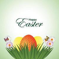 glad påsk firande bakgrund med påskgrön mark med butterfleis och påskharen vektor