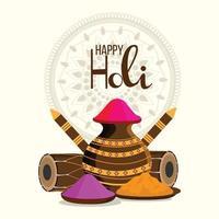 Happy Holi Flat Design-Konzept mit Farbschlammtopf mit Trommel und Farbpistole