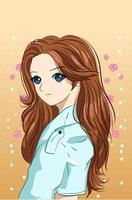 vacker och söt flicka med tecknad illustration för brunt långt hår vektor