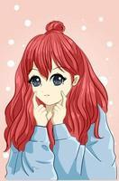 schönes und süßes Mädchen mit langen roten Haaren mit Jackenkarikaturillustration vektor