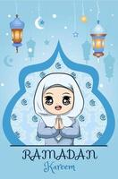 liten muslimsk tjej ramadan kareem blå bakgrund vektor