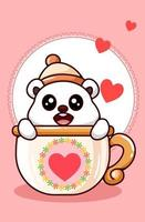 kawaii Eisbär, der Mützenhut in der Tasse in der Karikaturillustration des Valentinstags trägt vektor