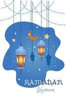 Ramadan Kareem Dekoration mit Lampen Cartoon Illustration vektor