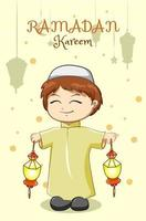 liten muslimsk pojke som firar ramadan kareem med lyktatecknad filmillustration vektor