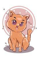 lite glad söt brun kattvektorillustration vektor