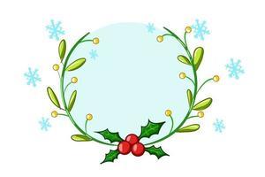 ein Weihnachtsthema Stechpalmenkranz mit blauer Kristallillustration vektor
