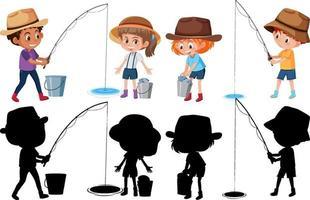 Satz verschiedene Kinder, die Fischkarikaturfigur auf weißem Hintergrund fischen vektor