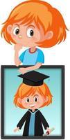 Zeichentrickfigur eines Mädchens, das ihr Abschlussporträtfoto hält vektor