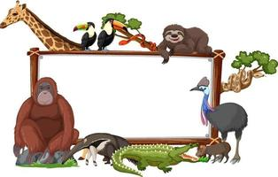 leeres Banner mit wilden Tieren auf weißem Hintergrund vektor