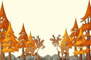 Hirsch-Zeichentrickfigur in der Herbstwaldszene vektor