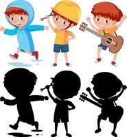uppsättning av en pojke som gör olika aktiviteter vektor