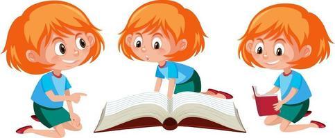 Zeichentrickfigur eines Mädchens, das verschiedene Aktivitäten ausführt vektor