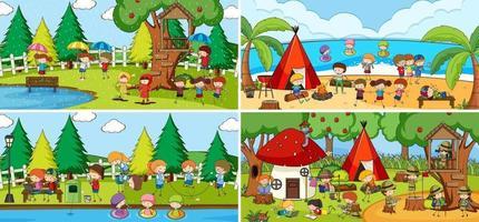 Outdoor-Szene mit vielen Kindern Gekritzel Zeichentrickfigur gesetzt vektor