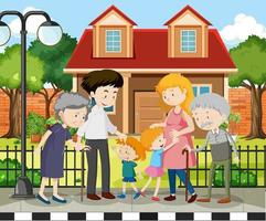 Mitglied der Familie zu Hause Outdoor-Szene vektor