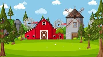 Bauernhofszene in der Natur mit Scheune und Windmühle vektor