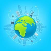 Weltreisevektor-Konzept. Illustration mit Sehenswürdigkeiten vektor