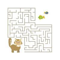 söt tecknad katt labyrint spel. labyrint. roligt spel för barns utbildning. vektor illustration