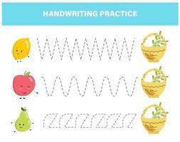 handstilspraxis för förskolebarn. spåra linjer med färgglada frukter pedagogiska barn spel. kalkylblad för barn vektor