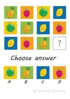 logikspel för barn, aktivitet för barn, uppgift för utveckling av logiskt tänkande och sinne, söta tecknade frukter vektor