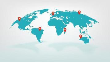 vektor världskarta med pekare