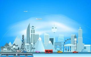 Weltkonzept mit Straßenverkehr und moderner Stadt vektor