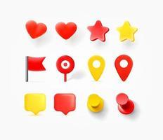 Navigationsstifte, Herzen, Sprechblasen isoliert auf weißem Hintergrund vektor