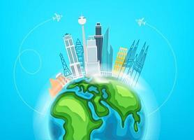 Reisezielkonzept mit Gebäuden vektor