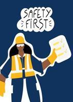 säkerhet första handskrivna frasen med kvinnlig industriarbetare vektor