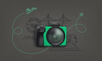 världsresekoncept med digital kamera och klotterelement vektor