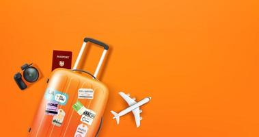 Reiseillustration mit verschiedenen Mitarbeitern. orangefarbener Koffer vektor
