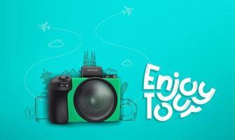 Reisekonzept mit grüner Digitalkamera und Kritzeleien vektor