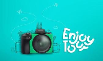 resekoncept med grön digital kamera och klotterelement vektor