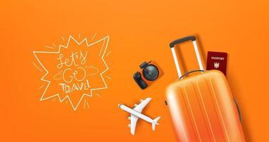 Reiseillustration mit Gepäck und Logo vektor