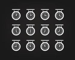 retro stil klocka vektor silhuetter med olika pilar position