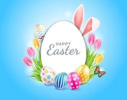 glad påskdag påskägg färgglada olika och mönster konsistens och kaninöron med tulpaner blomma och fjäril på blå färgbakgrund. vektor illustrationer.