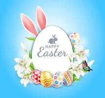 glad påskdag påskägg färgglada olika och mönster konsistens och kaninöron med liljor blomma och fjäril på blå färg bakgrund. vektor illustrationer.