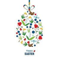 glückliche Osterkarte auf weißem Hintergrund. Vektorillustration. vektor