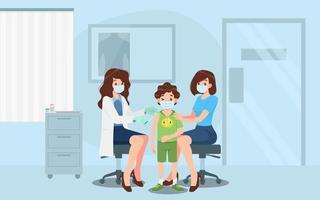 ein Arzt in einer Klinik, der einem Jungen einen Coronavirus-Impfstoff gibt. Impfkonzept für die Gesundheit der Immunität. Virusprävention zur medizinischen Behandlung, Immunisierungsprozess gegen Covid-19 für Menschen. vektor
