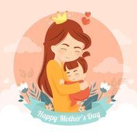fürsorgliche Mutter, die ihre süße Tochter umarmt vektor