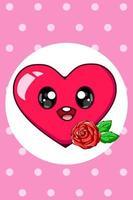 ein niedliches großes Herz mit Rosenkarikaturillustration vektor